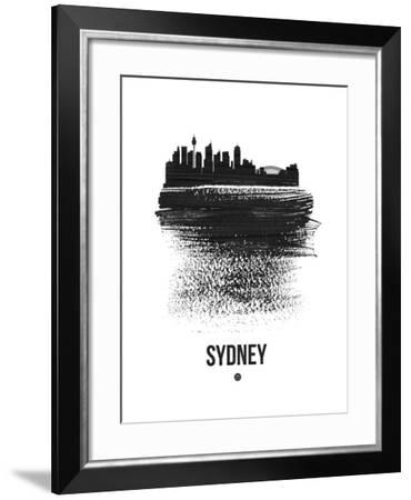 Sydney Skyline Brush Stroke - Black-NaxArt-Framed Art Print