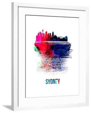 Sydney Skyline Brush Stroke - Watercolor-NaxArt-Framed Art Print