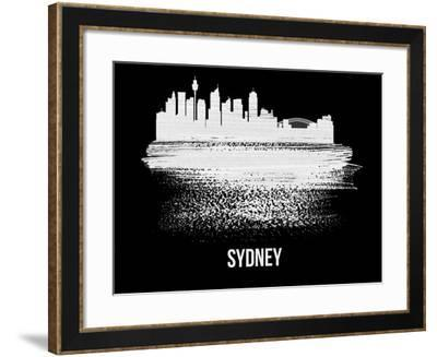 Sydney Skyline Brush Stroke - White-NaxArt-Framed Art Print