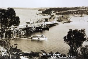 Sydney Spit Bridge, Middle Harbour, Sydney, New South Wales, Australia in 1924