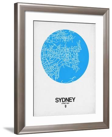 Sydney Street Map Blue-NaxArt-Framed Art Print
