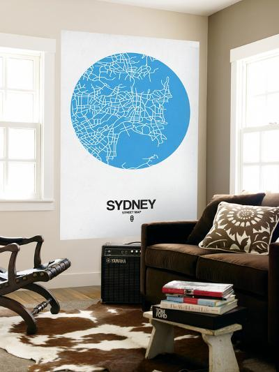 Sydney Street Map Blue-NaxArt-Wall Mural