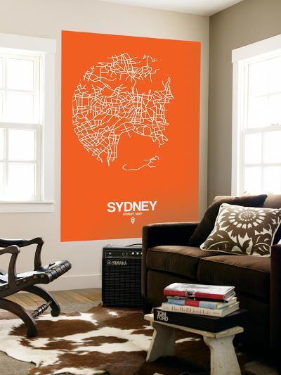 Sydney Street Map Orange-NaxArt-Wall Mural