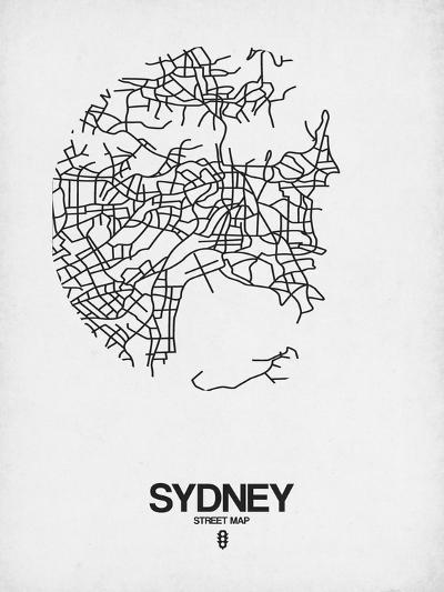 Sydney Street Map White-NaxArt-Art Print