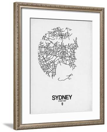 Sydney Street Map White-NaxArt-Framed Art Print