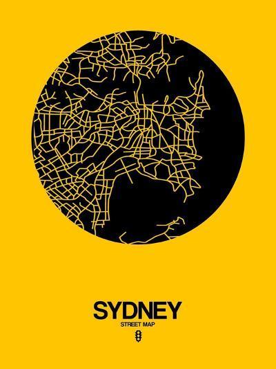 Sydney Street Map Yellow-NaxArt-Art Print