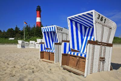 Sylt, Beach Chairs with Lighthouse on the East Beach of Hšrnum-Uwe Steffens-Photographic Print