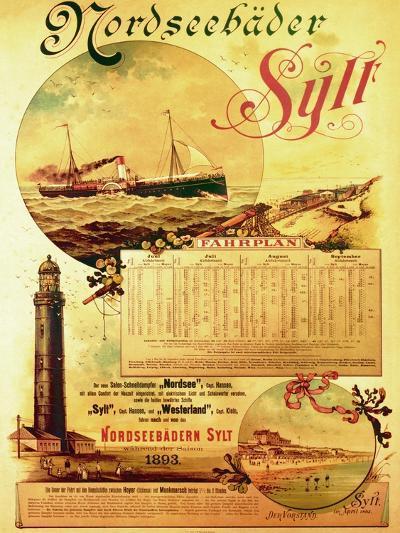 Sylt North Sea Baths', Poster Advertising the Sylt Steamship Company, 1893-German School-Giclee Print