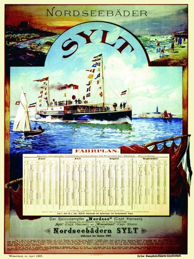 Sylt', Poster Advertising the Sylt Steamship Company, 1899-German School-Giclee Print