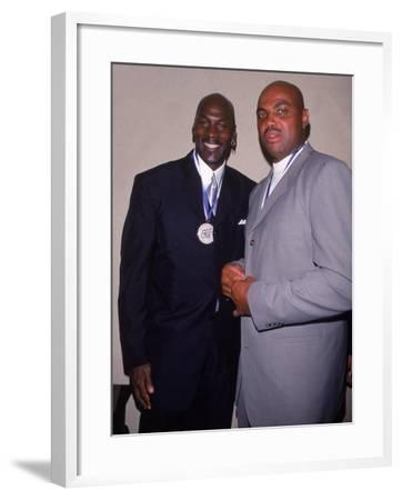 Basketball Players Michael Jordan and Charles Barkley at Great Sports Legend Dinner
