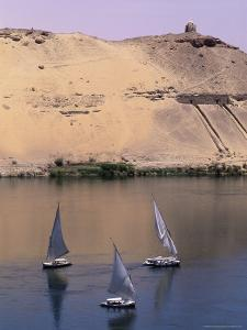 Three Feluccas on the River Nile, Aswan, Nubia, Egypt, North Africa, Africa by Sylvain Grandadam
