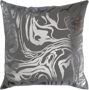 Sylver 18 x 18 Down Fill Pillow - Charcoal/Silver