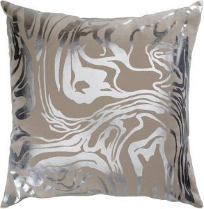 Sylver 18 x 18 Poly Fill Pillow - Beige/Silver