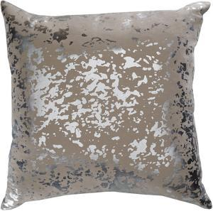 Sylverstone 18 x 18 Poly Fill Pillow - Beige/Silver