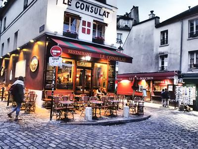 Evening light and restaurants, Montmartre region of Paris.