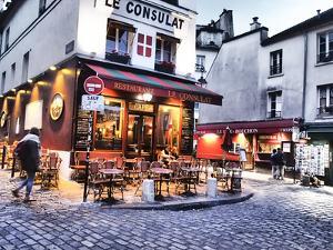 Evening light and restaurants, Montmartre region of Paris. by Sylvia Gulin
