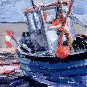 Boat with Red Buoy by Sylvia Paul