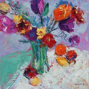 Tulips And Fruit by Sylvia Paul
