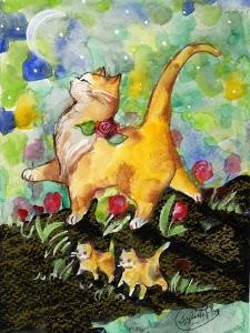 Attitude Momma Cat with Kittens Moon by sylvia pimental