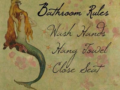 Bathroom Rules Vintage Mermaid by sylvia pimental