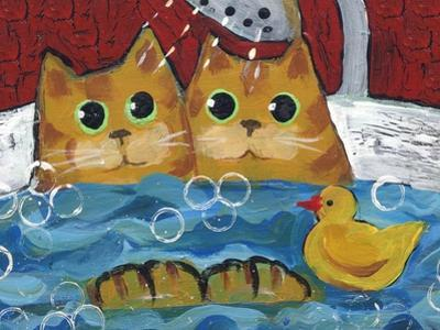 Cat Bath Time Rubber Duckie by sylvia pimental