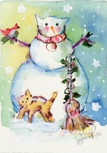 Cat Snowman by sylvia pimental