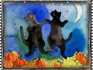 Dancing Black Cats Halloween by sylvia pimental