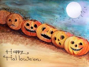 Five Pumpkins in a Row Halloween by sylvia pimental