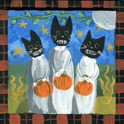 Folk Art Black Cats Halloween by sylvia pimental