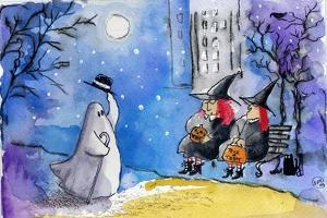Friendly Ghost Halloween City Witches by sylvia pimental