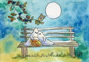 Ghosts on Bench Halloween Full Moon Owl by sylvia pimental