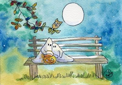 Ghosts on Bench Halloween Full Moon Owl
