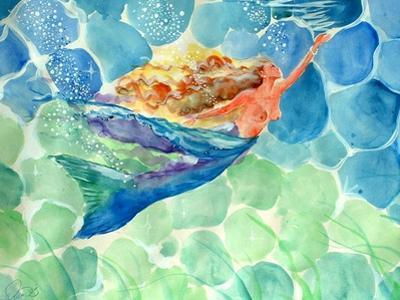 Golden Hair Blue Swimming Mermaid by sylvia pimental