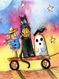 Halloween Wagon Scarecrow Ghost cat by sylvia pimental