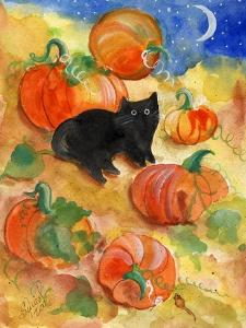 Little Black Cat in Pumpkin Patch by Sylvia Pimental