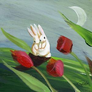 Little Bunny Rabbits in the Tulips by sylvia pimental