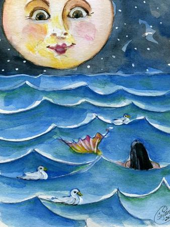 Moon Face Mermaid in The Sea