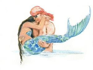 Pirate holding Mermaid by sylvia pimental
