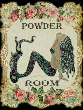 Powder Room Mermaid with Vintage Roses