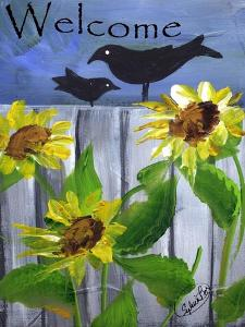 Sunflower Black Crow Welcome by Sylvia Pimental
