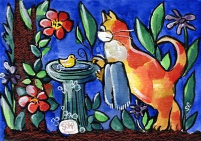 Tabby Cat with Rubber Duck by sylvia pimental