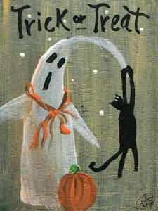 Trick or Treat Ghost & Funny Black Cat by Sylvia Pimental