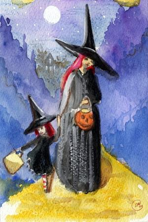 Trick or Treat Night Red Haired Witches Halloween by sylvia pimental