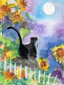 Tuxedo Cat in Moonlight with Sunflowers by sylvia pimental