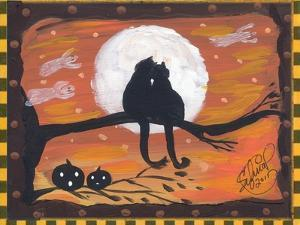 Two Cat in Full Moon halloween Night by sylvia pimental