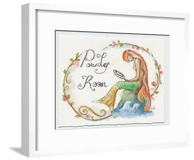 Watercolor Powder Room Mermaid with Looking Glass