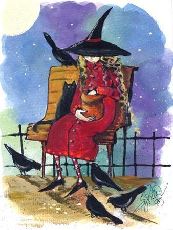 Witch feeding Crows Halloween