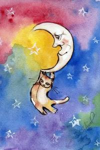 Yellow Tabby Cat Hanging from Moon by sylvia pimental