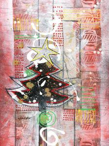 Sapin sur fond rouge by Sylvie Cloutier