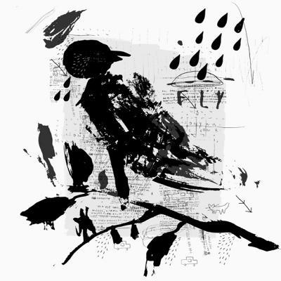 Symbolic Image of a Bird in the Style of Graffiti-Dmitriip-Art Print